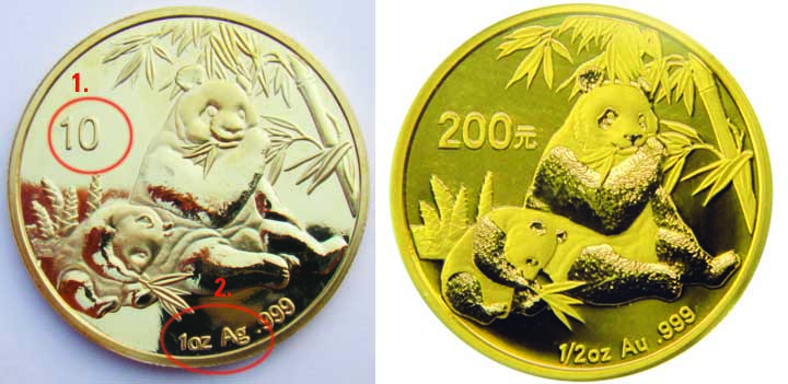 Counterfeit Panda gold coin
