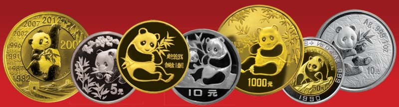 Gold Panda and Silver Panda coins